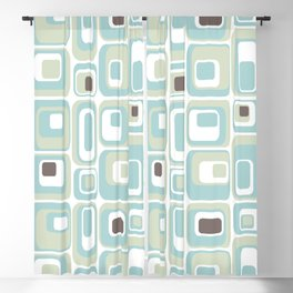 Retro Rectangles Mid Century Modern Geometric Vintage Style Blackout Curtain