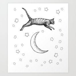 Cat Jumping Over The Moon Art Print