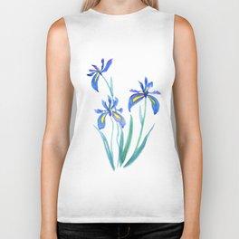 blue iris watercolor Biker Tank
