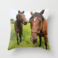 horses Throw Pillows featuring horses by Falko Follert Art-FF77