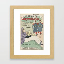 Sheet music Au Jardin du Luxembourg by Achille Bloch and Louis Byrec, performed by Camille Stéfani T Framed Art Print