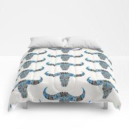 Water Buffalo Skull – Black & Blue Comforters