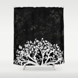 The Zen Tree - White on Black Shower Curtain