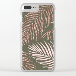 Chic Military Green Rose Gold Palm Fronds Clear iPhone Case