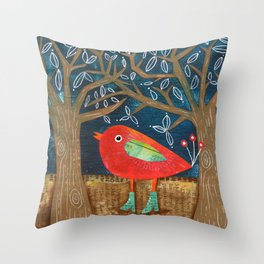 Red Bird in Galoshes Throw Pillow