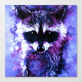 raccoon watercolor splatters blue purple Canvas Print