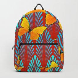 YELLOW ART DECO BUTTERFLIES & CUMIN COLOR ART Backpack