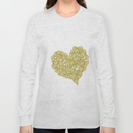 Gold butterflies in heart shape on white Long Sleeve T-shirt