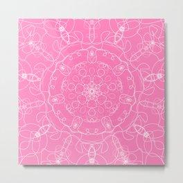 mandala kaleidoscope pattern pink white Metal Print