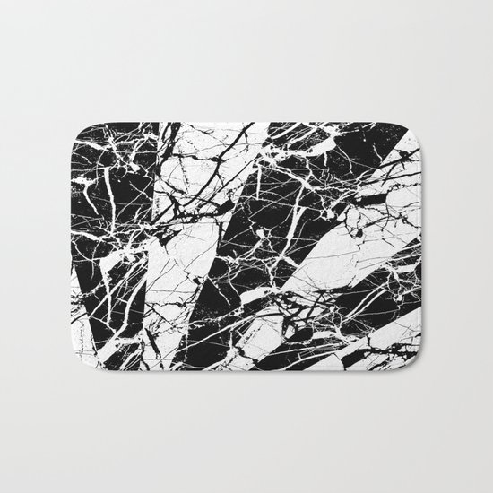 Rays Of Marble - Black and White, marble textured, abstract art Bath Mat