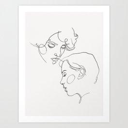 Couple line drawing Art Print