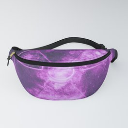 Radiation sign, Radiation symbol. Abstract night sky background Fanny Pack