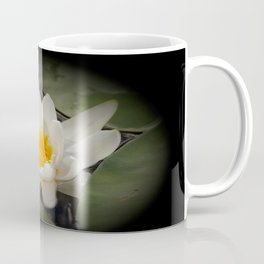White Waterlily On A Dark Background #decor #society6 Coffee Mug