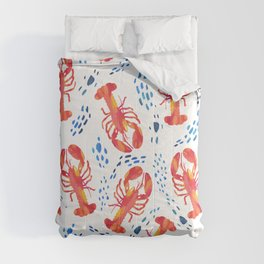 Pink Lobsters in the Tide Comforters