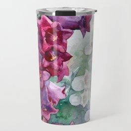 Campanula watercolor flowers aquarelle bellflowers Travel Mug