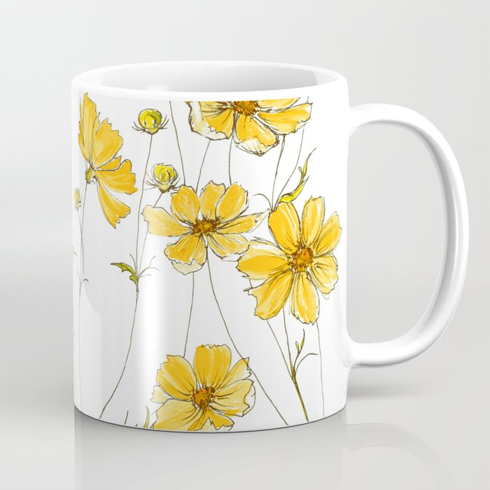 Yellow Cosmos Flowers Kaffeebecher