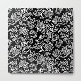 Black & Shiny Silver Floral Damasks Metal Print