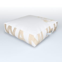 Wander Quote White Gold Outdoor Floor Cushion