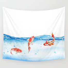 Happy koi fish- fishes sea water lake Wall Tapestry