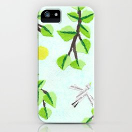 Bird, Leaves, Sun, Abstract, Paper Collage iPhone Case