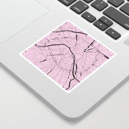 Paris France Minimal Street Map - Pretty Pink on Black Sticker