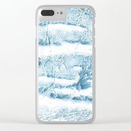 Blue marble streaked wash drawing Clear iPhone Case