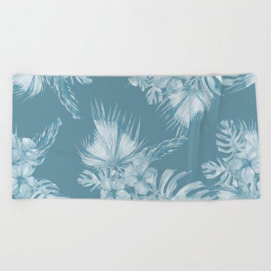 Teal Island Escape Palm Leaves + Flowers Beach Towel