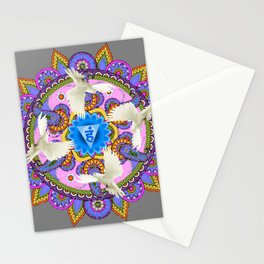 BLUE CHAKRA MANDALA WITH WHITE DOVES& PURPLE-GREY ART Stationery Cards