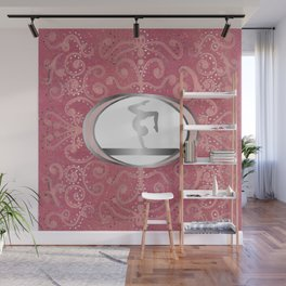Gymnastics Beam Design on a Rose Gold Glitter Background Wall Mural