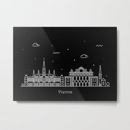 Vienna Minimal Nightscape / Skyline Drawing Metal Print