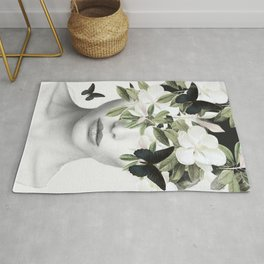 Woman With Flowers and Butterflies 3 Rug