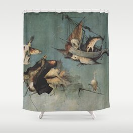 Hieronymus Bosch flying ships and creatures Shower Curtain