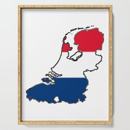 Netherlands Map with Dutch Flag Serving Tray