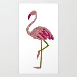 flowery flamingo Art Print