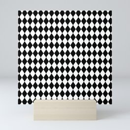 Classic Black and White Harlequin Diamond Check Mini Art Print