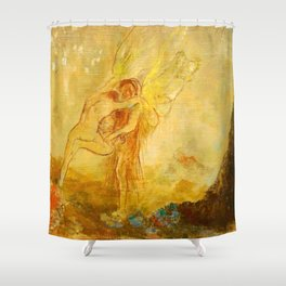 """Odilon Redon """"Jacob Wrestling with the Angel"""" Shower Curtain"""