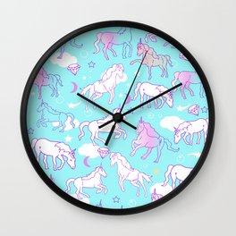 Unicorns In The Sky Wall Clock
