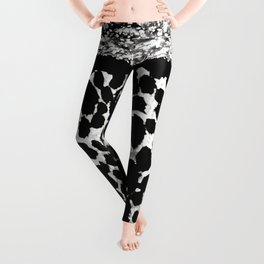Animal Print Leopard Silver and Black Leggings