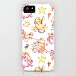 Cute girly watercolor magical rainbow colors unicorn illustration iPhone Case