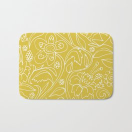 Garden Floral Drawing on Yellow Bath Mat