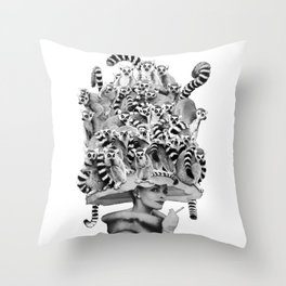 Her Ring-tailed Lemur Hat Throw Pillow