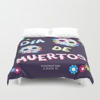 day of the dead Duvet Covers featuring Day of the Dead by Illustration by Julia