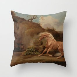 George Stubbs - Horse Frightened by a Lion Throw Pillow