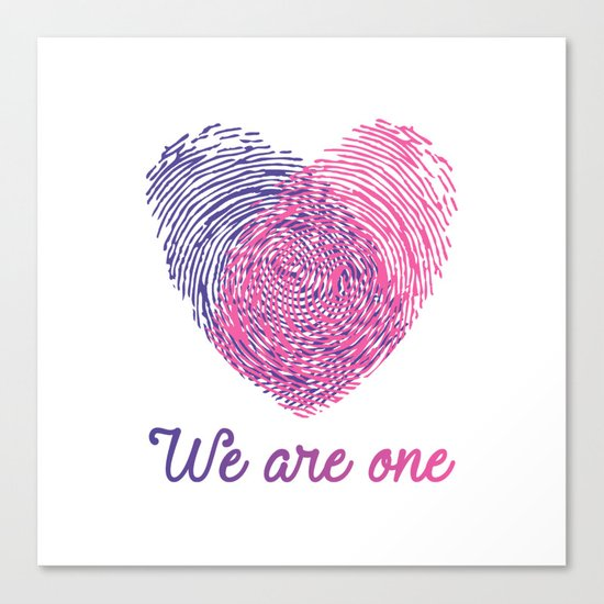 We are one - Valentine love Canvas Print