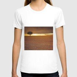 Ancient Oak Amid Ploughed Crop Field Italian sunset T-shirt