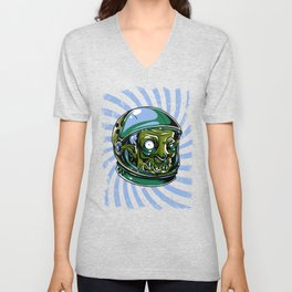 Astronaut Zombie Scary Face - I WAS TAKEN BY ALIENS Unisex V-Neck