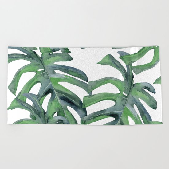 Tropical Palm Leaves Green on White Beach Towel