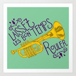 Les Bon Temps New Orleans Jazz Trumpet Art Print