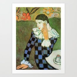 Pablo Picasso Harlequin Leaning on His Elbow Art Print