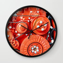 Red diesel engine for truck Wall Clock